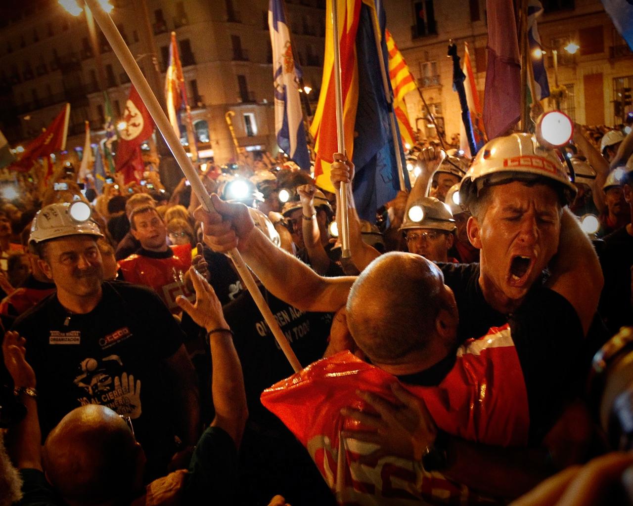 Manifestación de mineros en Madrid.