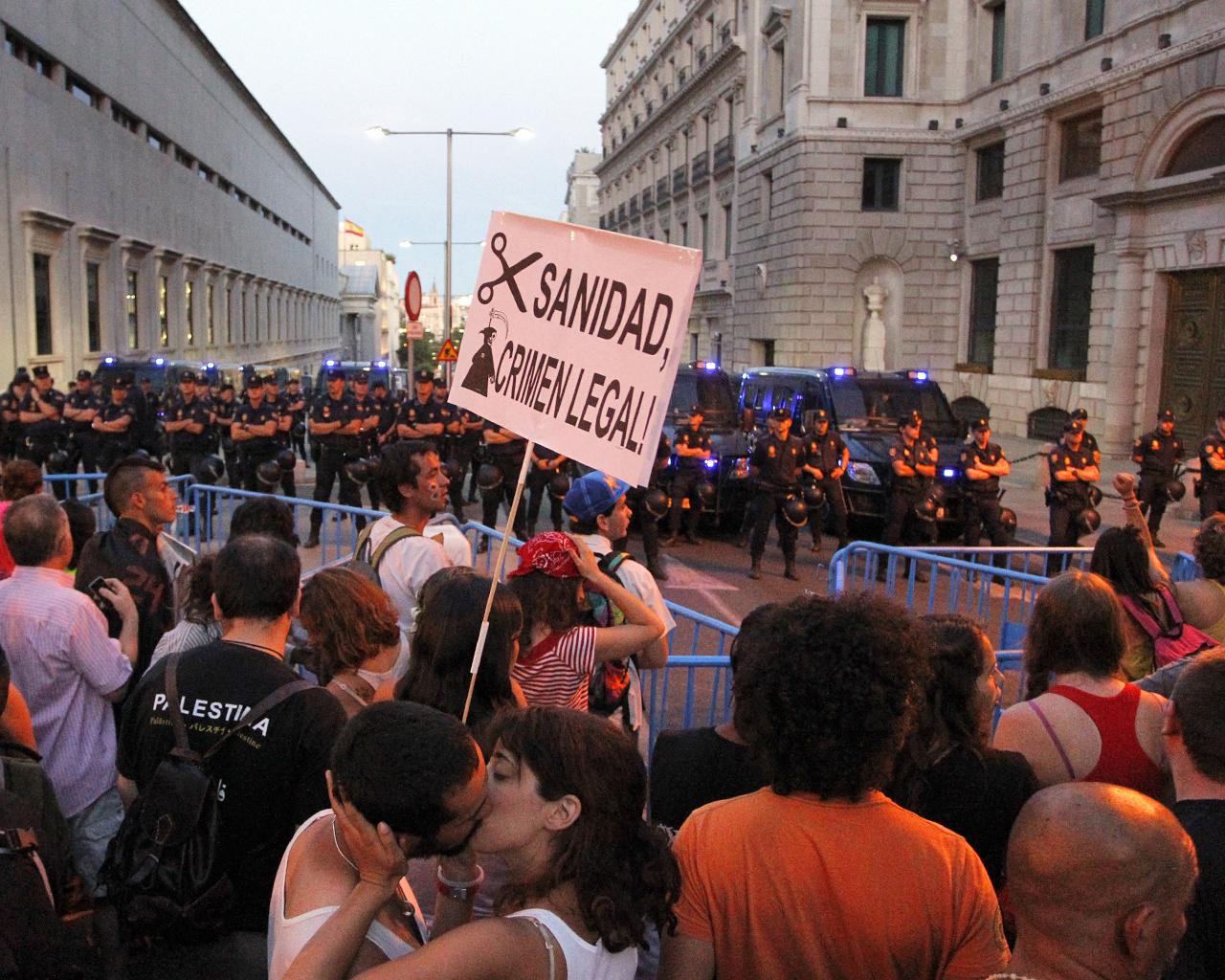 Protestas frente al Congreso de los Diputados