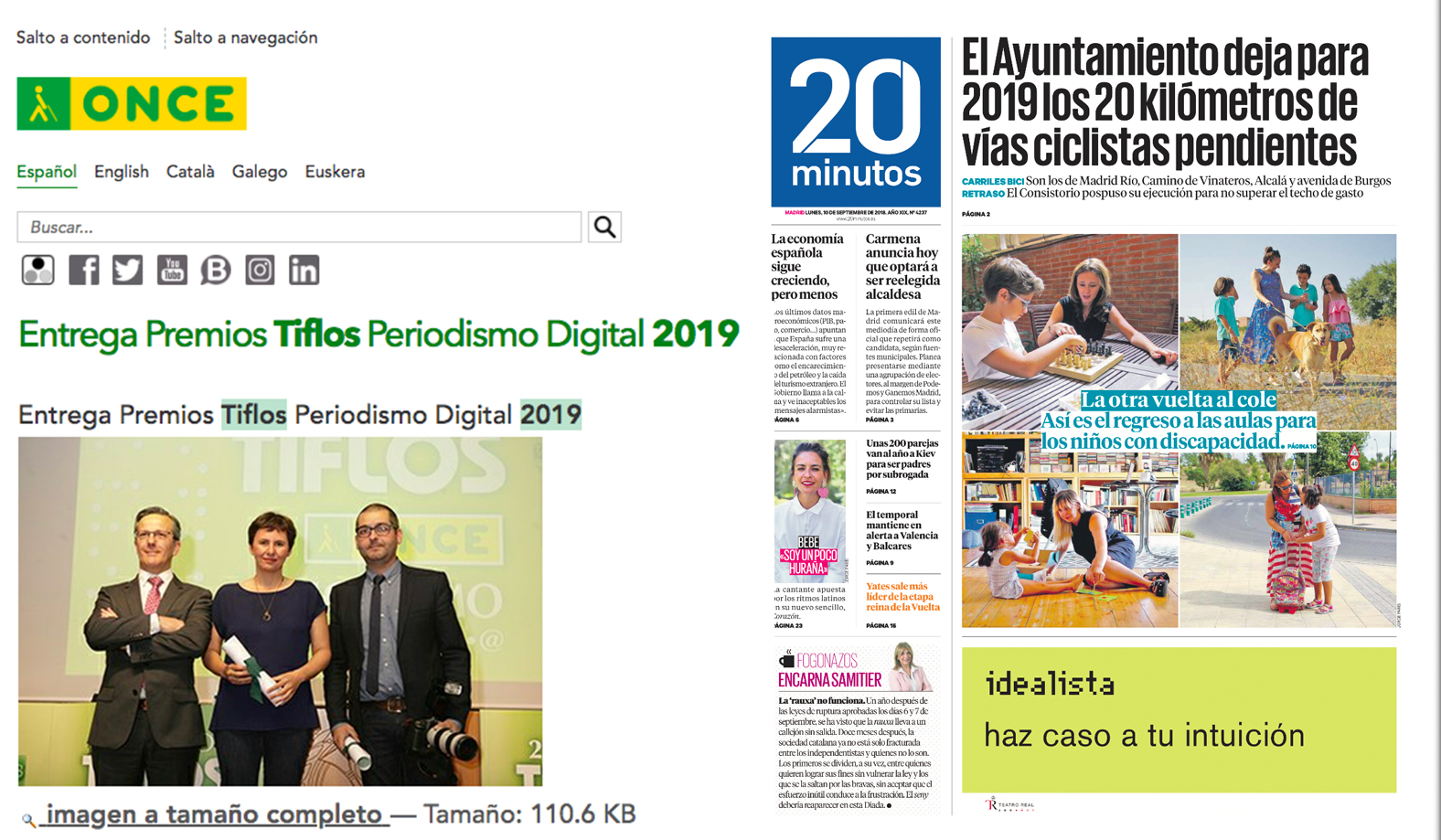 Premio Tiflos 2019 de Once. Categoria: Periodismo Digital.