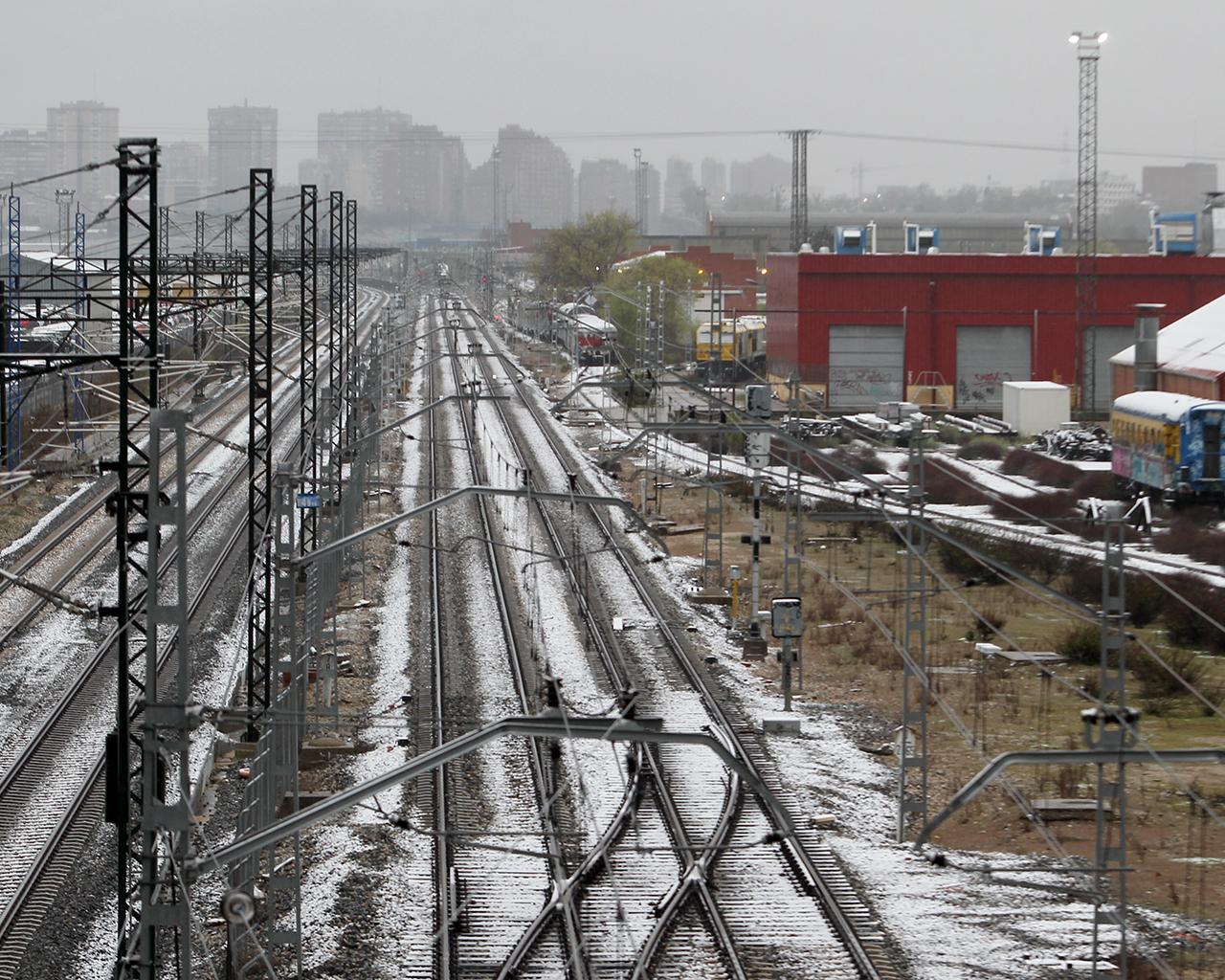 Primera nevada del año en la ciudad. Madrid. 31/03/2020.
