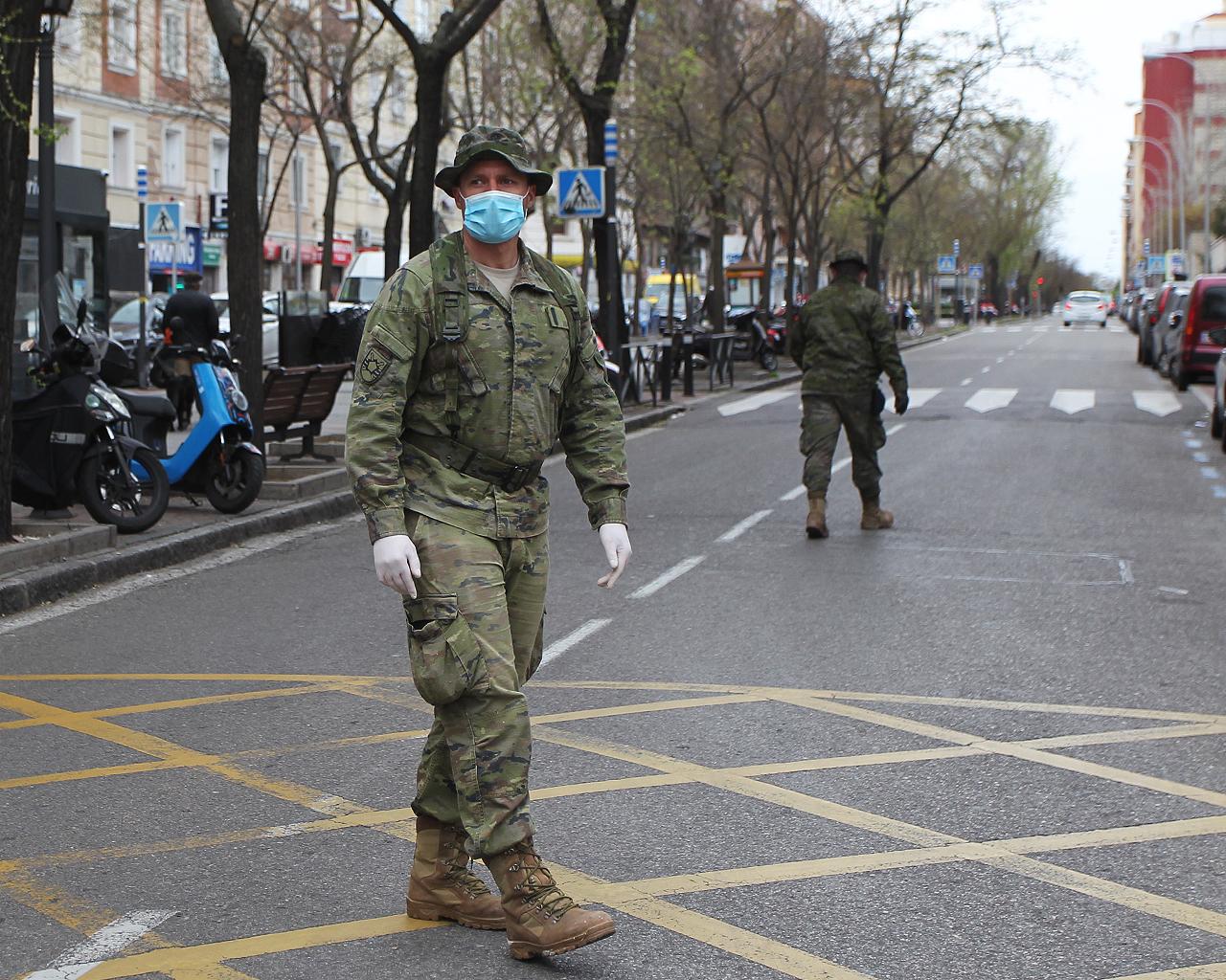 Despliegue de personal del Ejército. Madrid. 30/03/2020.
