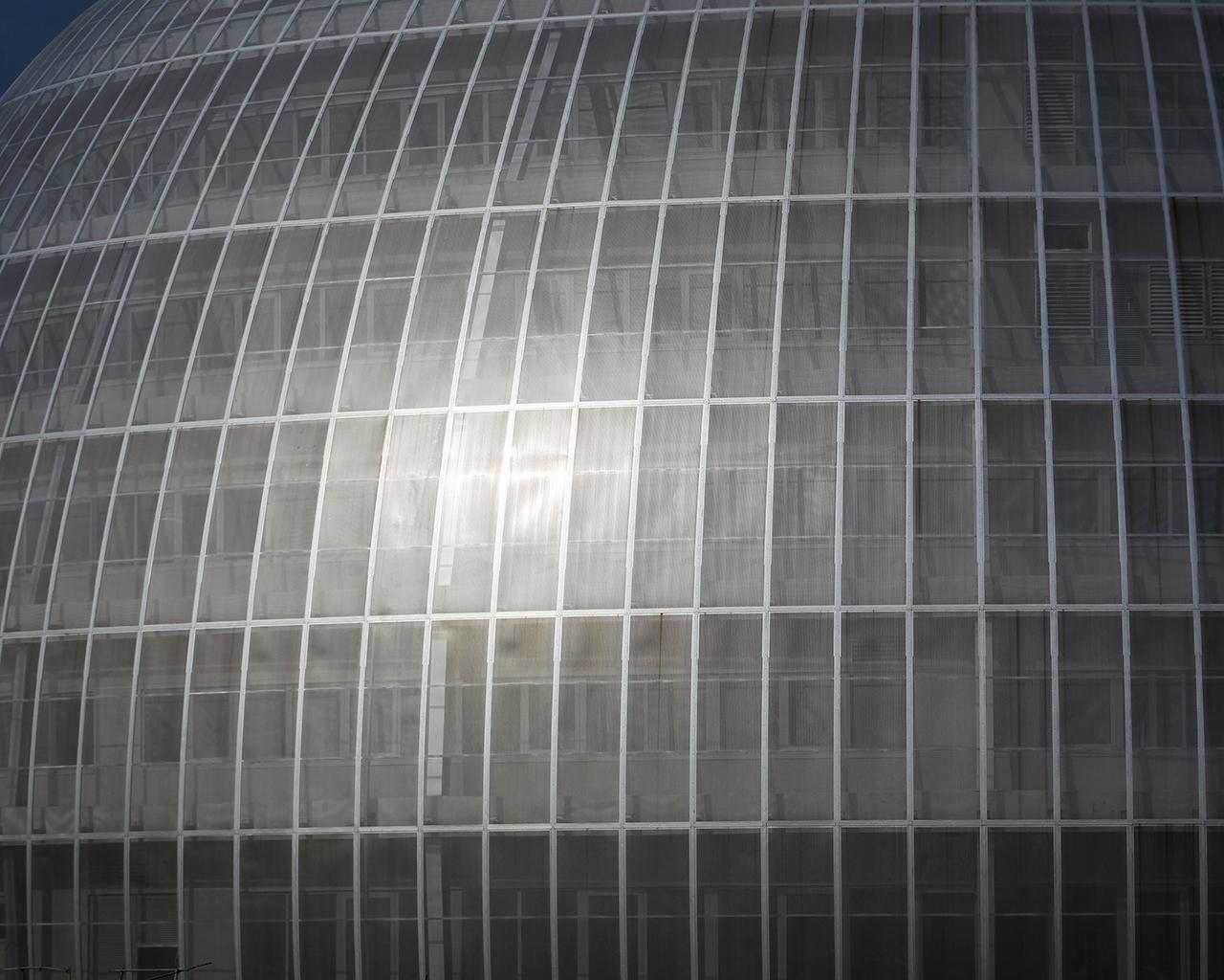 Detalle de la cúpula de la morgue de Valdebebas, en la Ciudad de la Justicia. Madrid. 23/04/2020.
