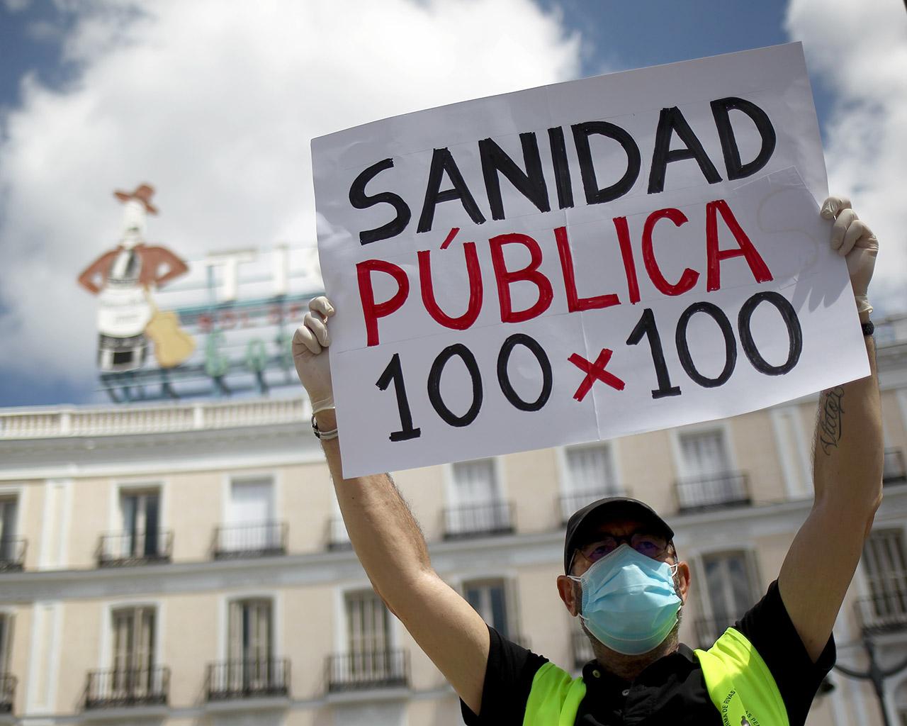 Concentración a favor de la sanidad pública en la Puerta del Sol. Madrid. 08/06/2020.